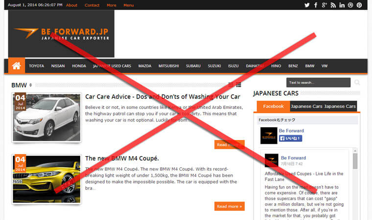 Fake Be Forward home page
