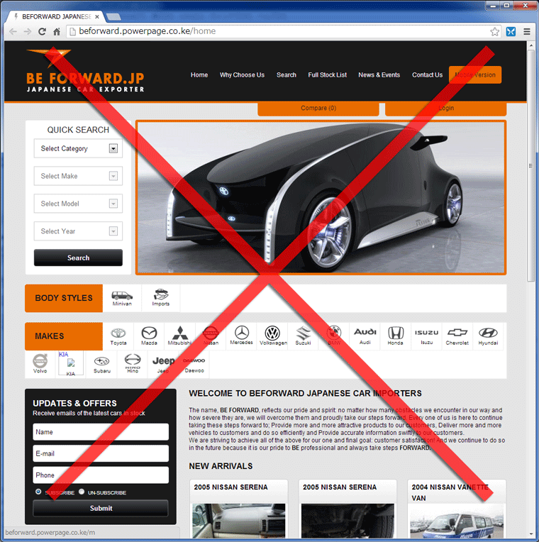 Fake Be Forward home page kenya