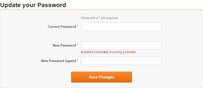 Enter current and new password