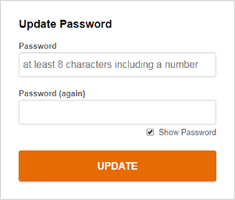 "Enter new password and click ""Update"""